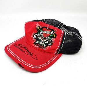 Ed Hardy | Red Distressed Skull Graphic Hat Cap